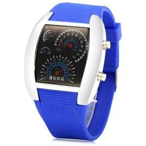Other - Car Speedometer Shaped Dial Male LED Watch - Blue